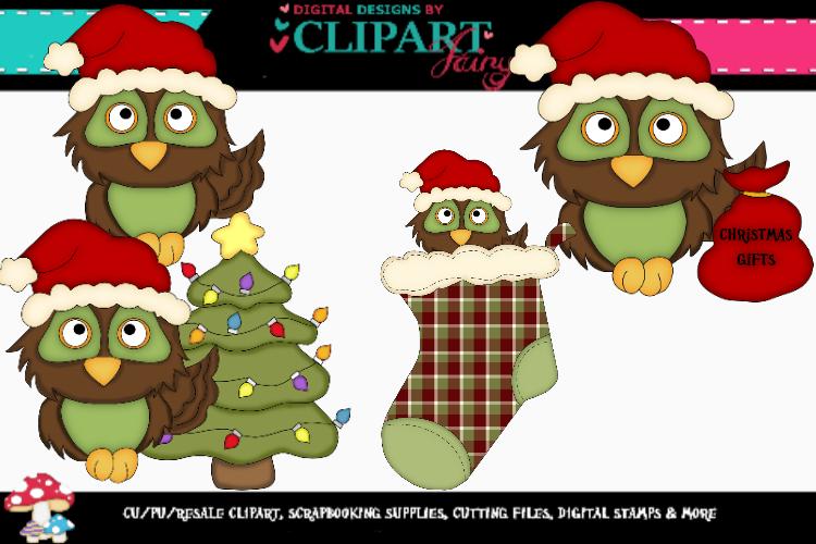 Brown-Green Christmas Owls example image 1
