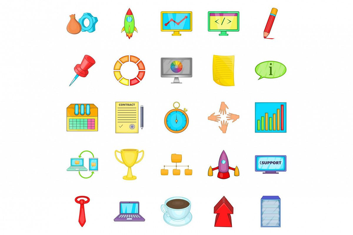 Conglomerate icons set, cartoon style example image 1