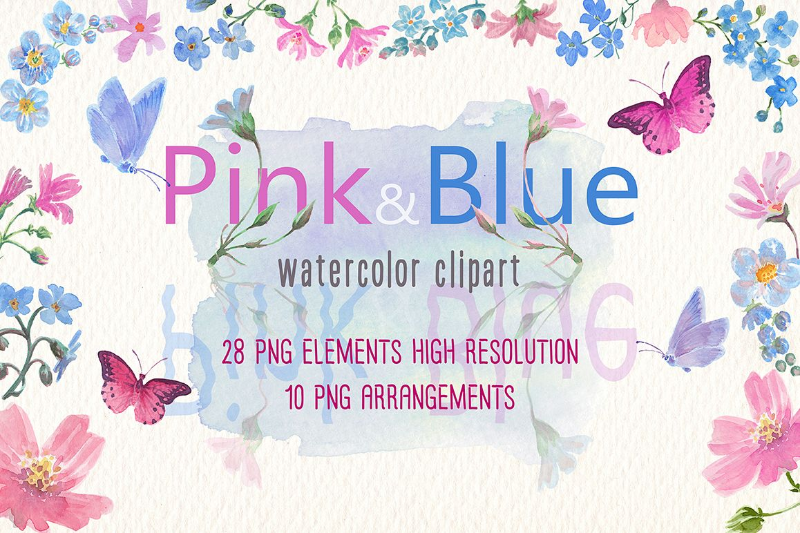 Watercolor Pink And Blue Flowers