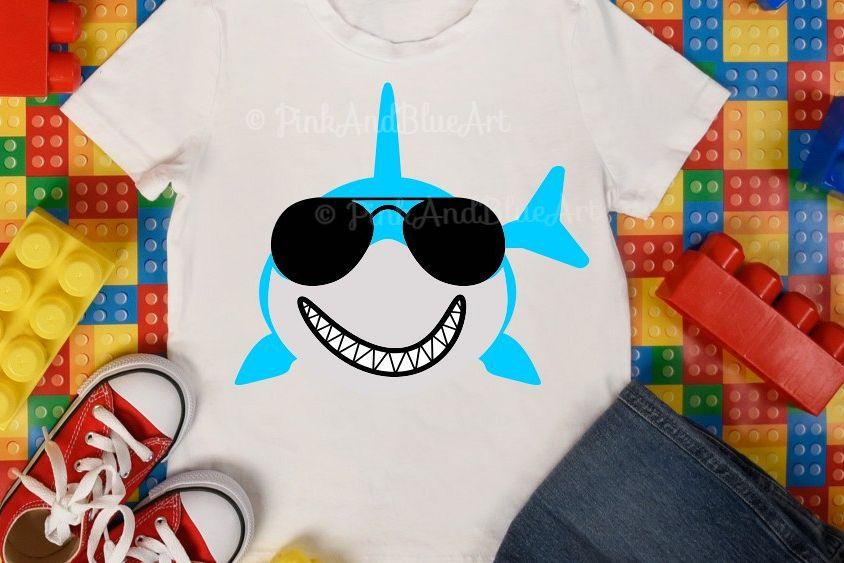Shark svg - Summer svg - Shark with sunglasses svg - Boy shark svg - Printable - Cut file - Shark shirt - Beach- SVG - DXF - png - pdf - eps example image 1