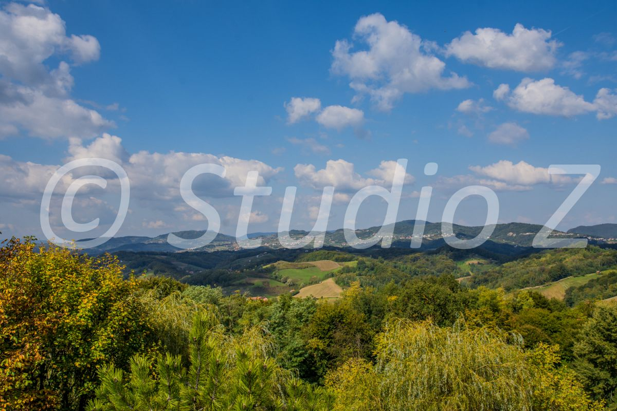 Green hills & Beautiful sky landscape example image 1