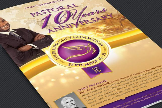 Clergy Anniversary Service Program Template example image 1