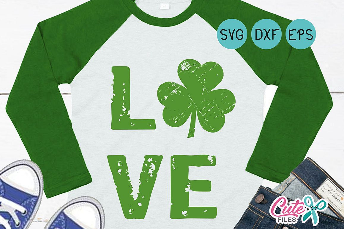 St Patricks svg, Love svg, grunge svg, distressed grunge clover, Files for Cutting Machines Cameo or Cricut example image 1