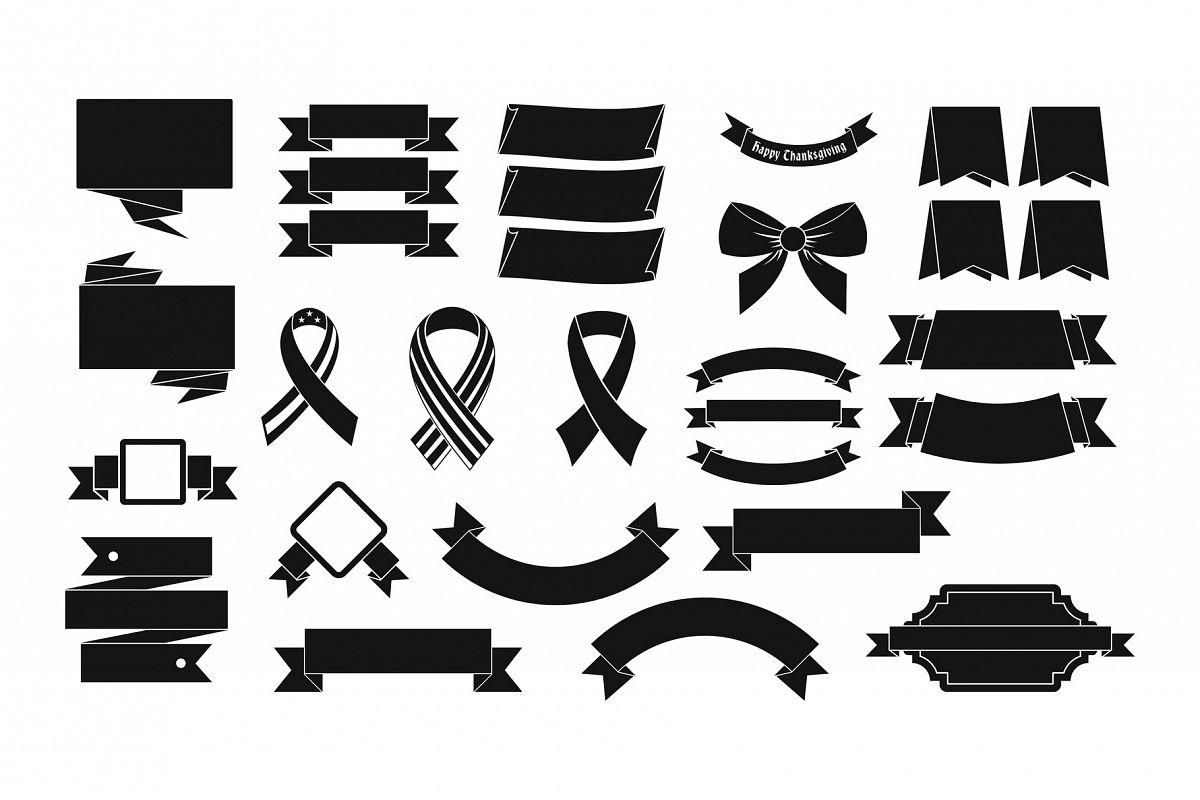 Ribbon icon set, simple style example image 1
