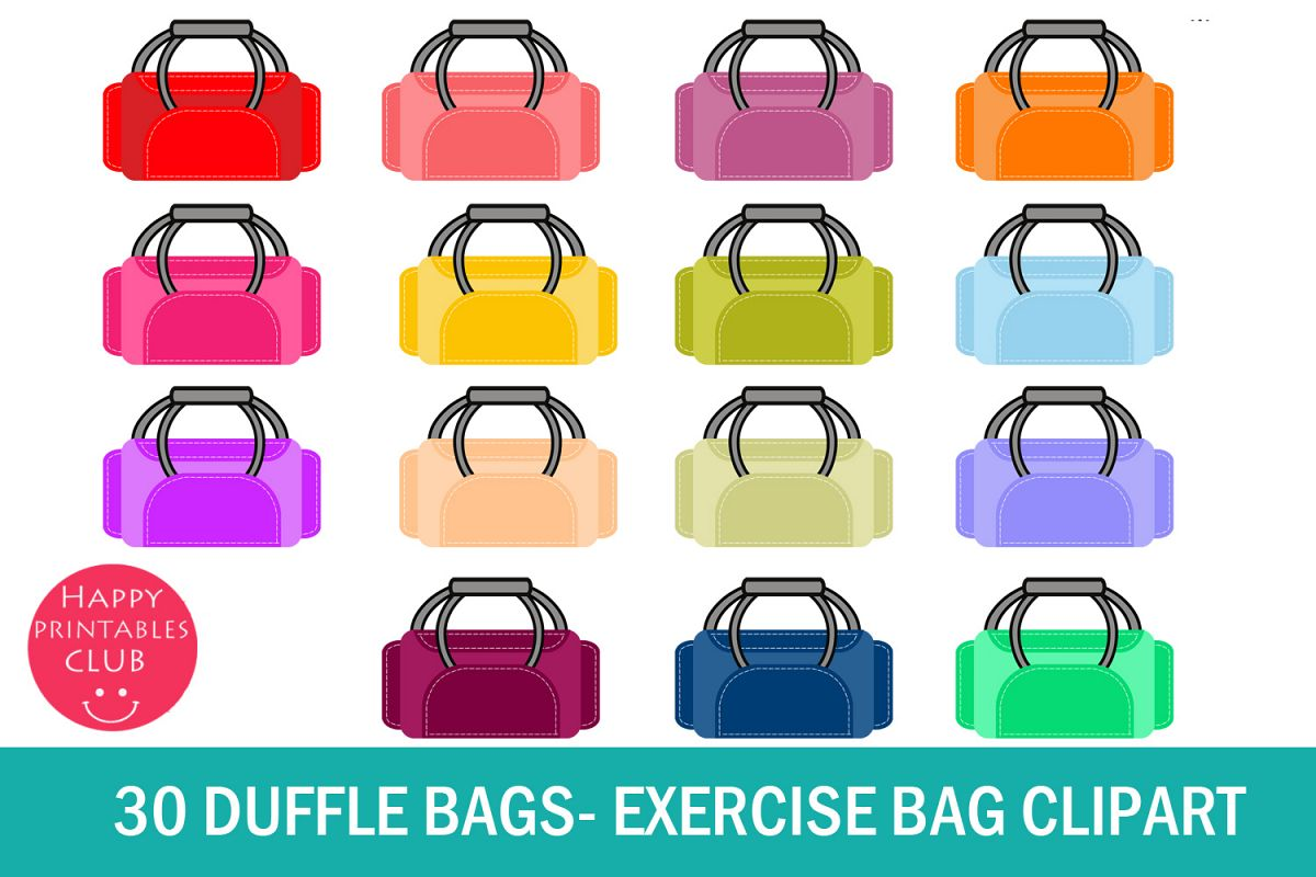 55e364159c 30 Duffle Bags Clipart- Exercise Bag Clipart-Gym Bag Clipart example image 1