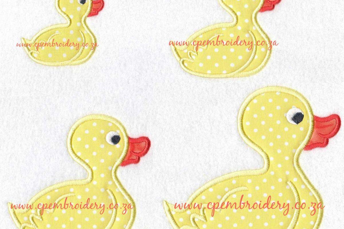 rubber duck silhouette applique design