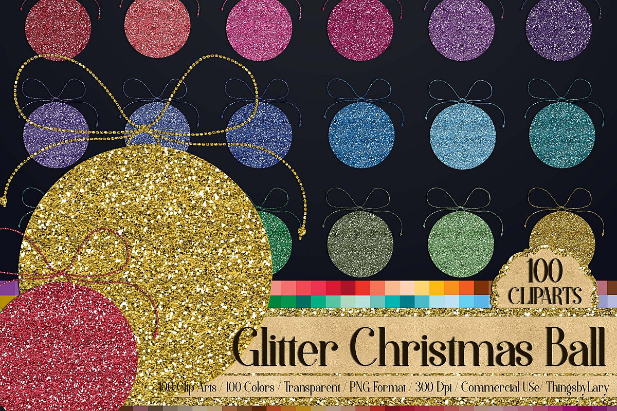 100 glitter winter christmas ball new year party clip arts example image 1