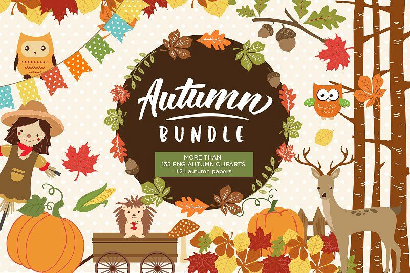 Autumn Clipart Bundle - 138 cliparts Eps and PNG example image 1