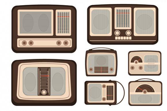 Set of Retro Vector Radio TV Communication Technologies example image 1