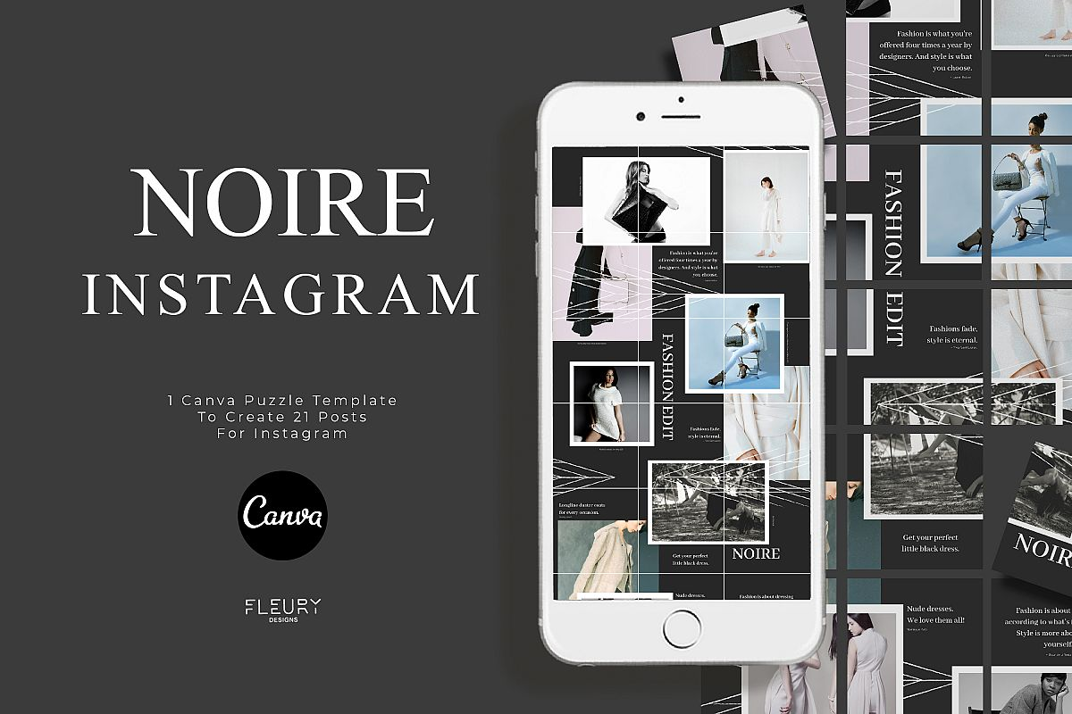 Instagram Puzzle Canva Template - Noire example image 1