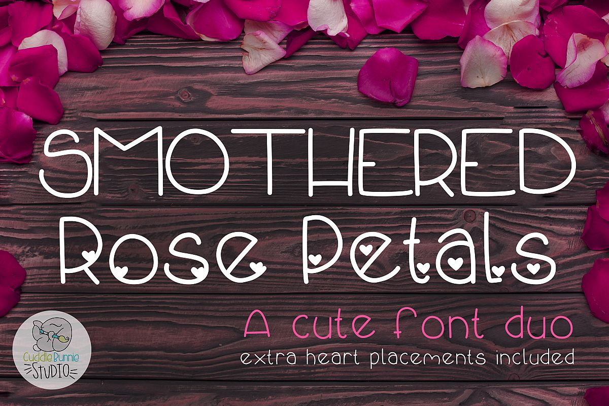 Smothered Rose Petals | A Cute Valentine Font Duo example image 1