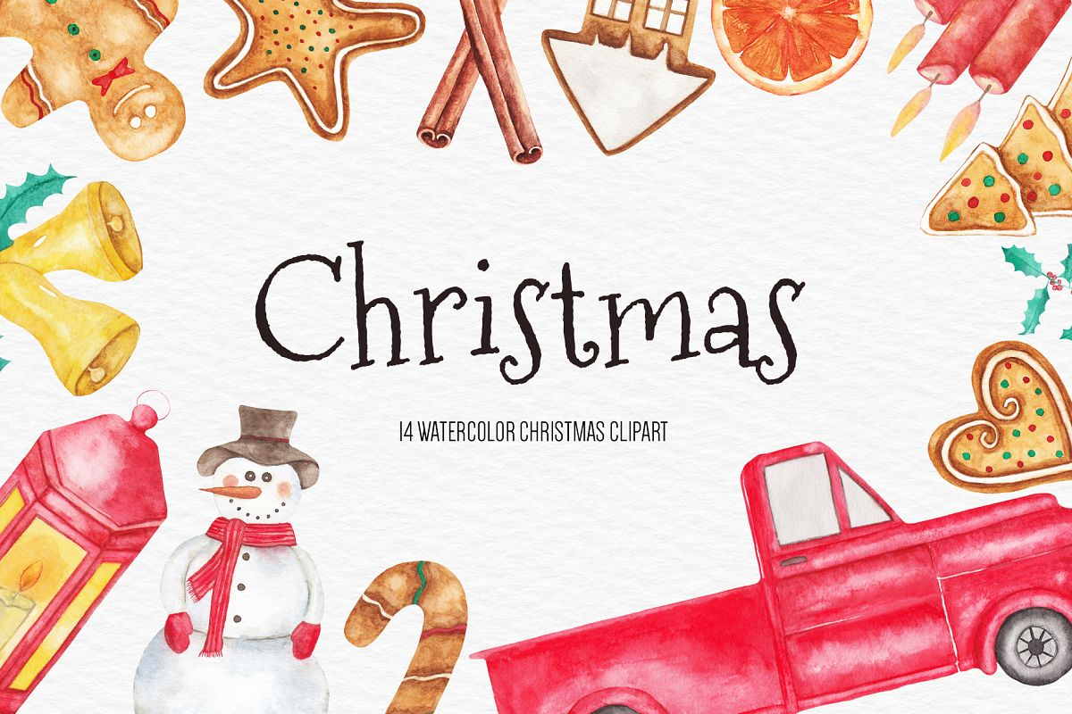 Watercolor Christmas Clipart, Christmas Illustration example image 1