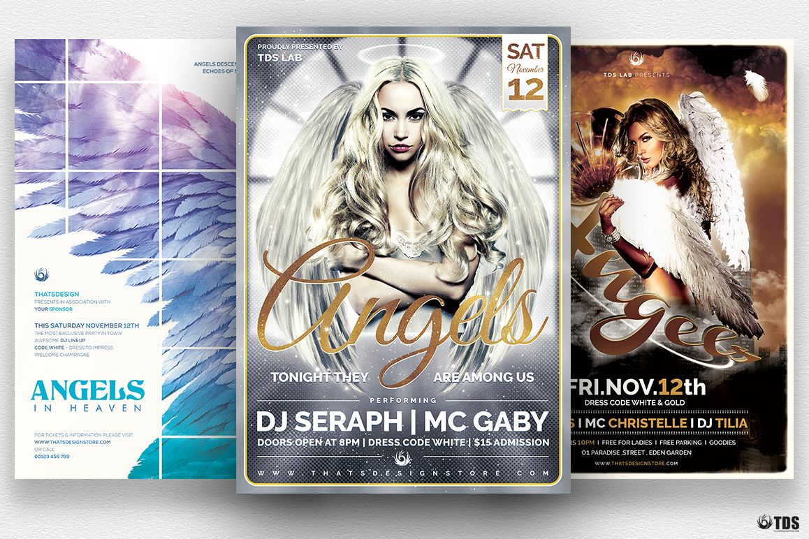 Angels Party Flyer Bundle example image 1