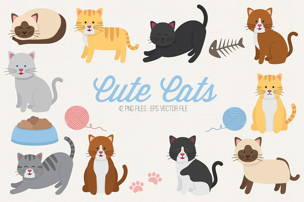 Cute Cats Clipart example image 1