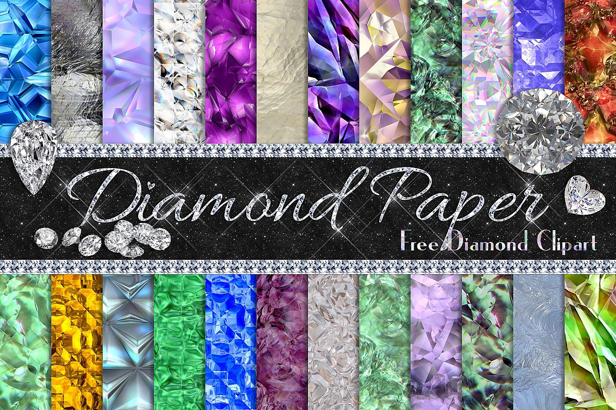24 realistic diamond texture digital papers example image 1