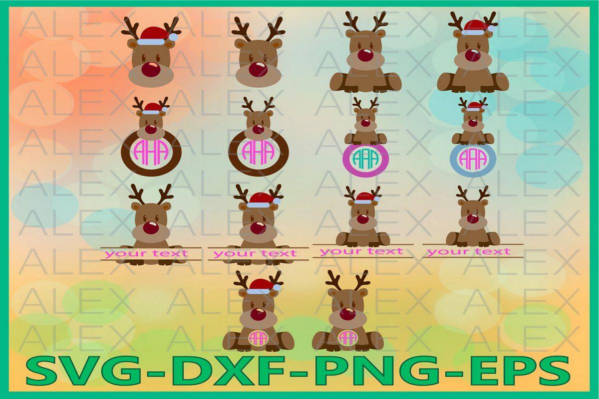 Deer Head Monogram SVG, Deer Monogram Svg, Christmas Deer example image 1