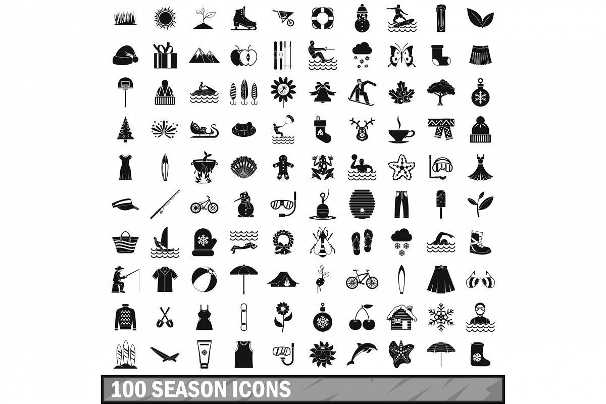 100 season icons set, simple style example image 1