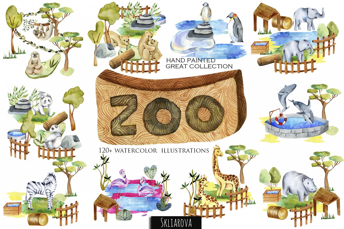 Zoo. Big watercolor collection. example image 1