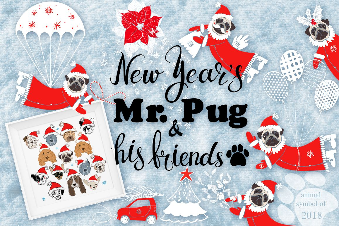 New Year's Mr.Pug and his friends. example image 1