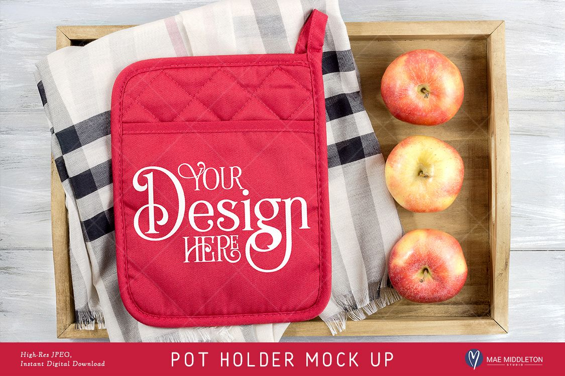 Pot Holder Mock up, Fall, Christmas, styled photo JPEG file example image 1