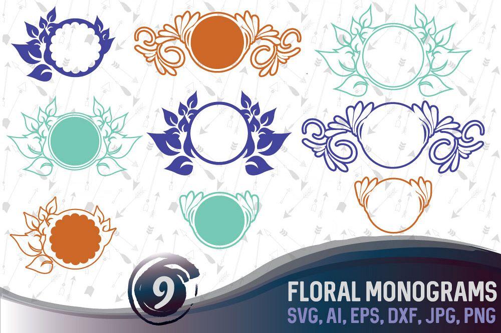 9 Floral Monograms Bundle SVG, DXF, JPG, PNG, DWG, AI, EPS example image 1