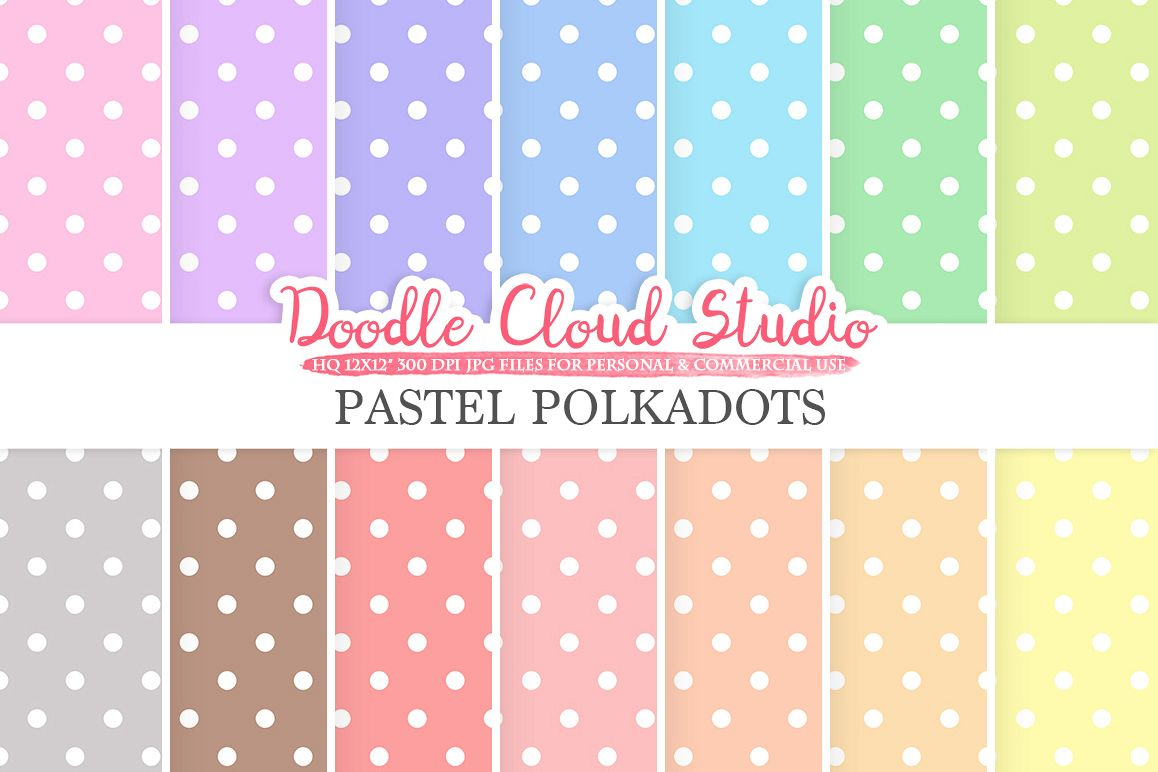 Pastel Polkadot digital paper, Polkadot patterns, Digital polkadot, pastel colors background, Instant Download for Personal & Commercial Use example image 1