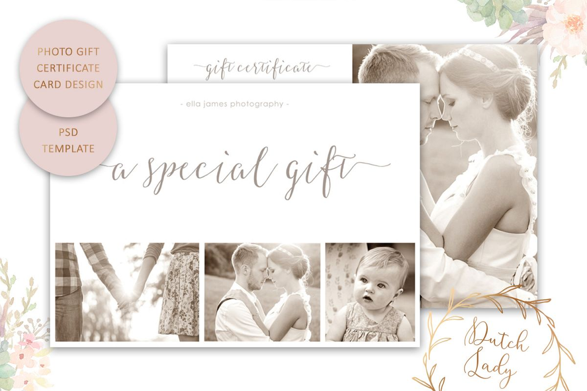Photo Gift Card Template For Adobe Photoshop 8
