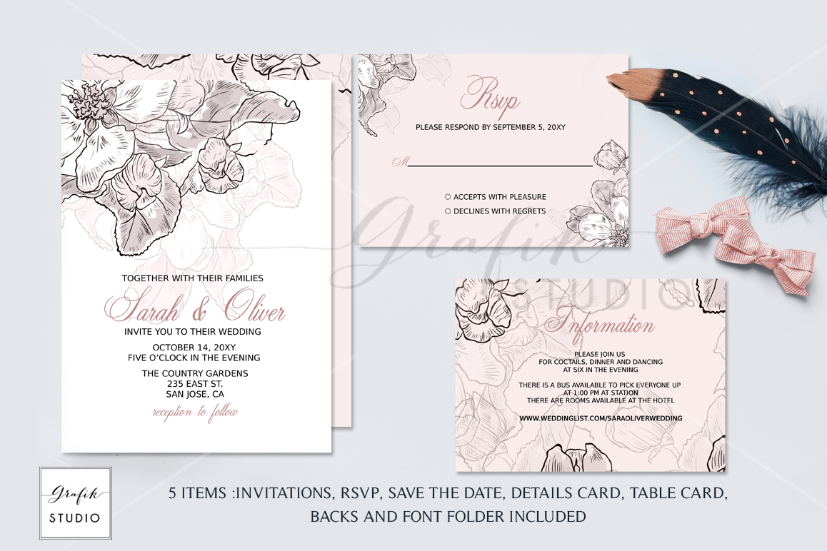 Blush Pink Floral Wedding Invitation Te | Design Bundles