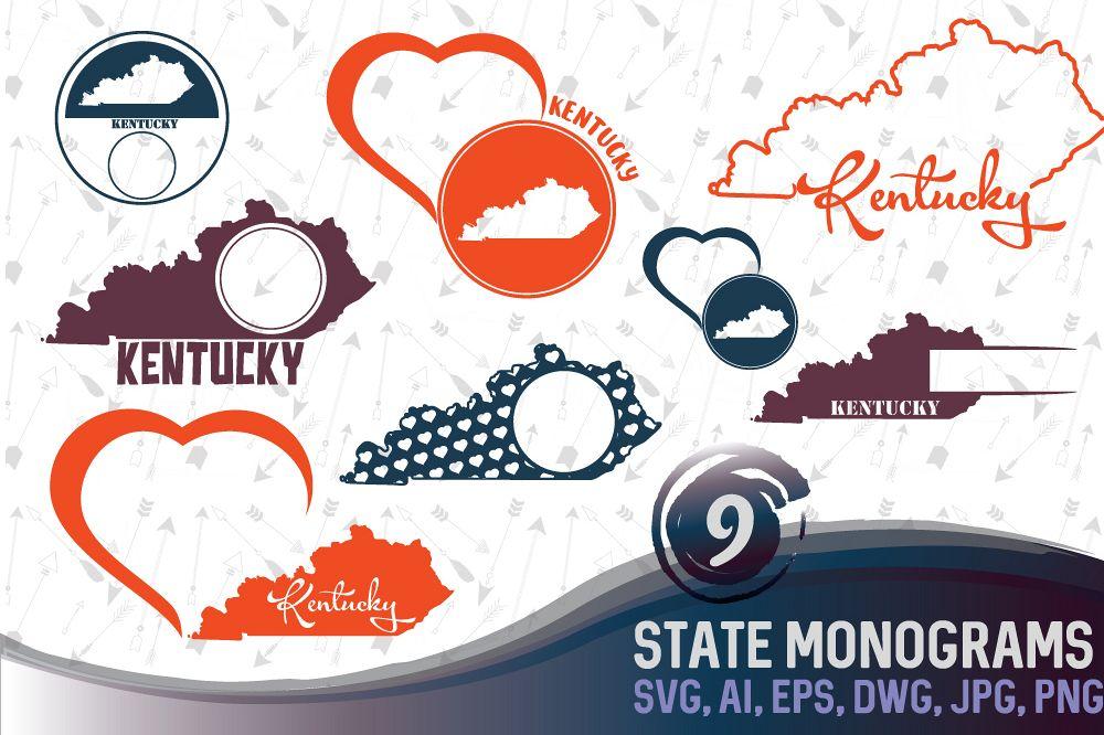 Kentucky Monograms SVG, JPG, PNG, DWG, CDR, EPS, AI example image 1