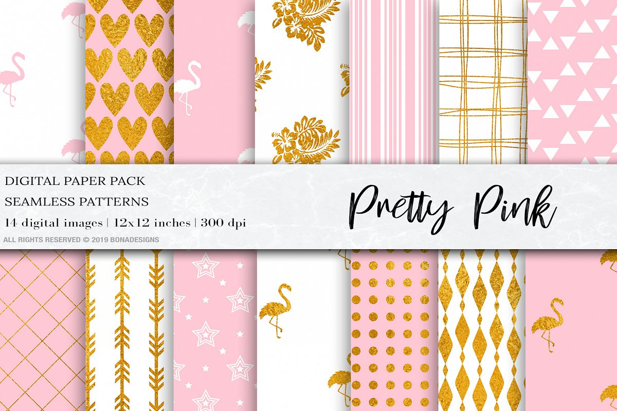 Pretty Pink Gold Digital Paper, Flamingo Seamless Patterns example image 1