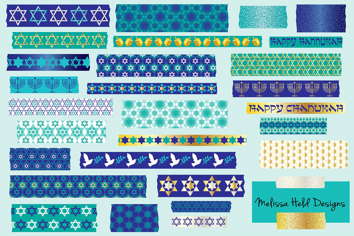 Hanukkah Washi Tape Clipart example image 1