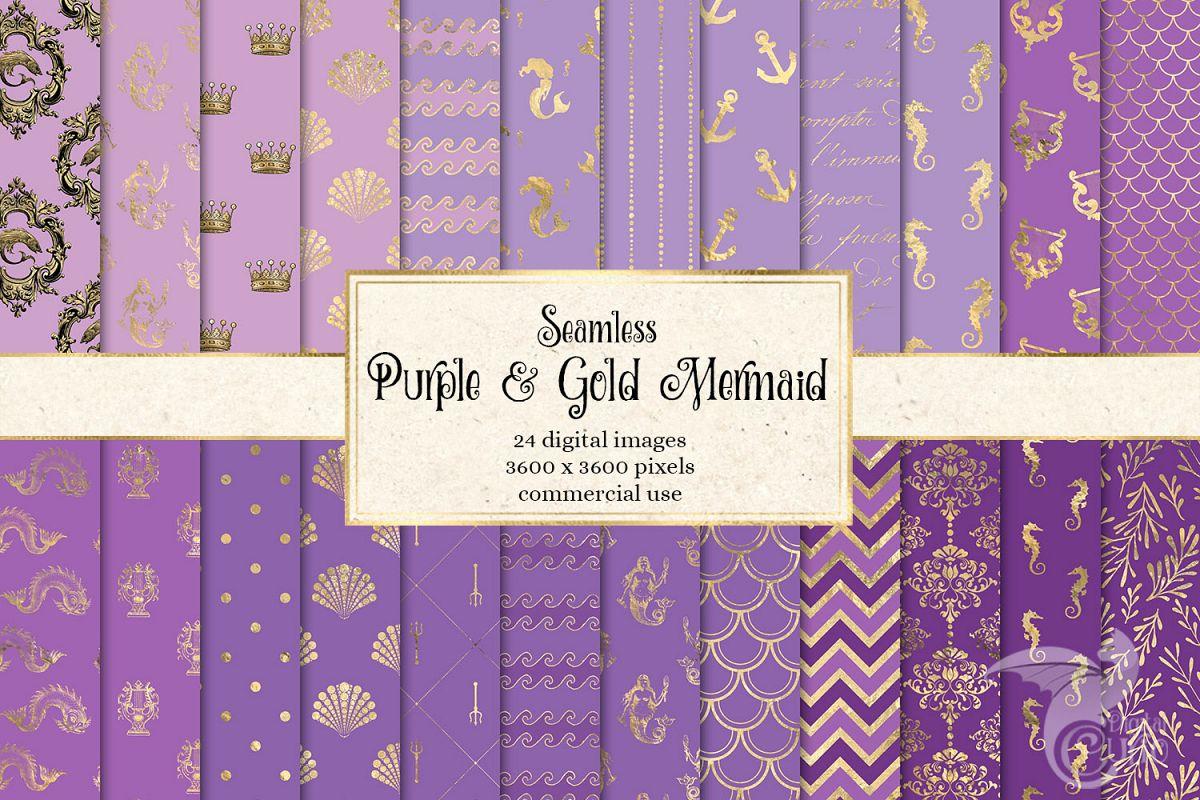 Purple and Gold Mermaid Digital Paper example image 1