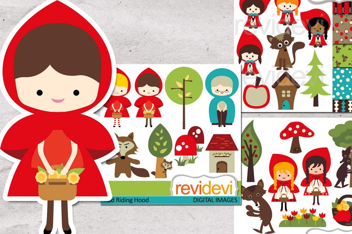 Little Red Riding Hood Set Clipart Digital Clip Art