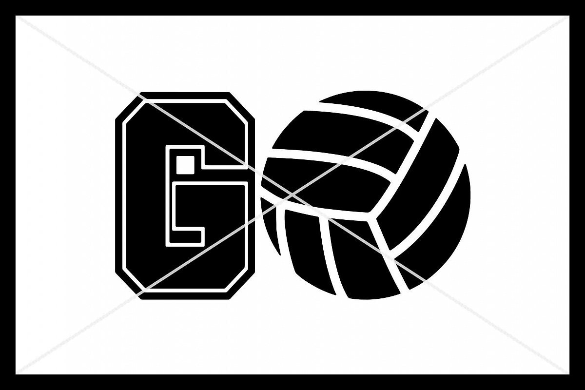 GO Volleyball, Cut File, Silhouette Cameo, Cricut, SVG DXF example image 1