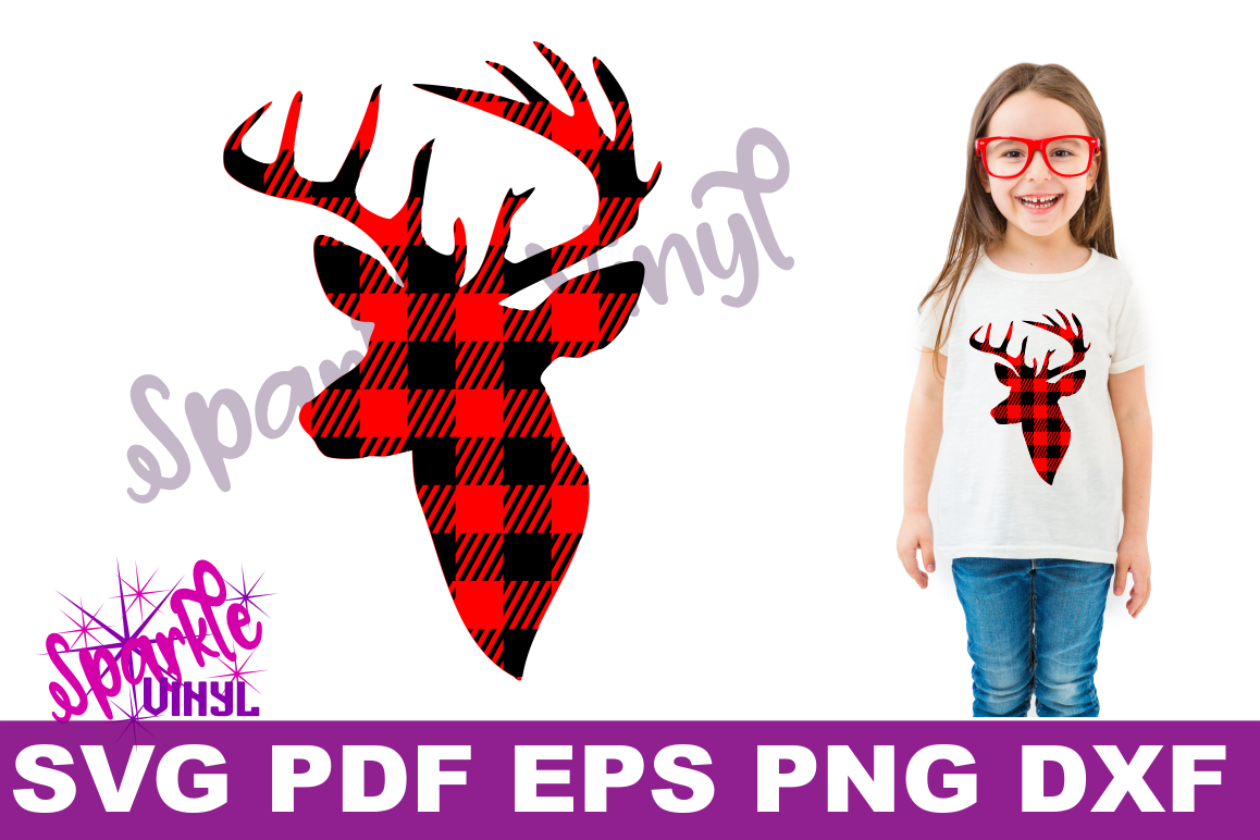 graphic about Deer Head Silhouette Printable referred to as Buffalo Plaid Reindeer Deer Thoughts Silhouette Printable svg slash data files for silhouette or cricut