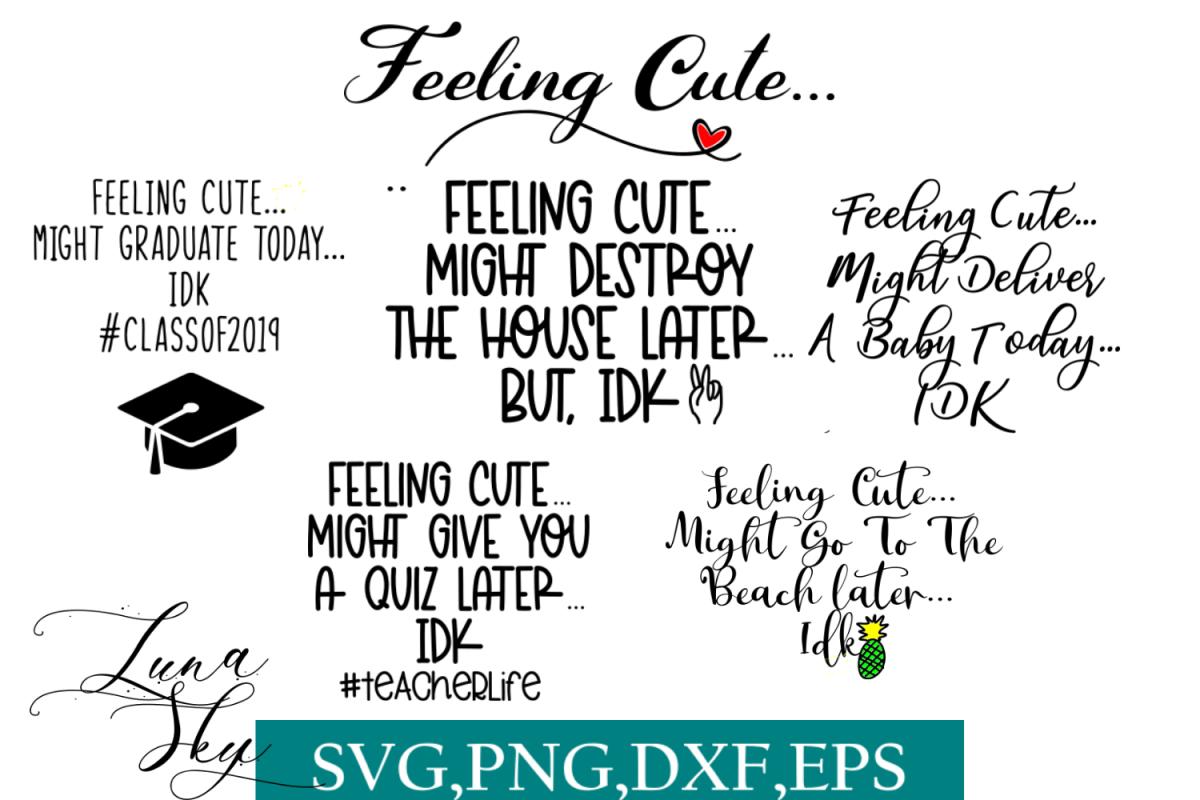 feeling cute, funny svg bundle example image 1