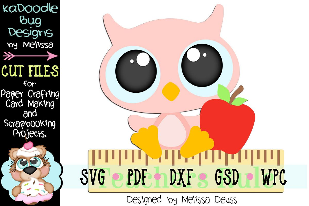 Teachers Rule Owl Cut File - SVG PDF DXF GSD WPC example image 1