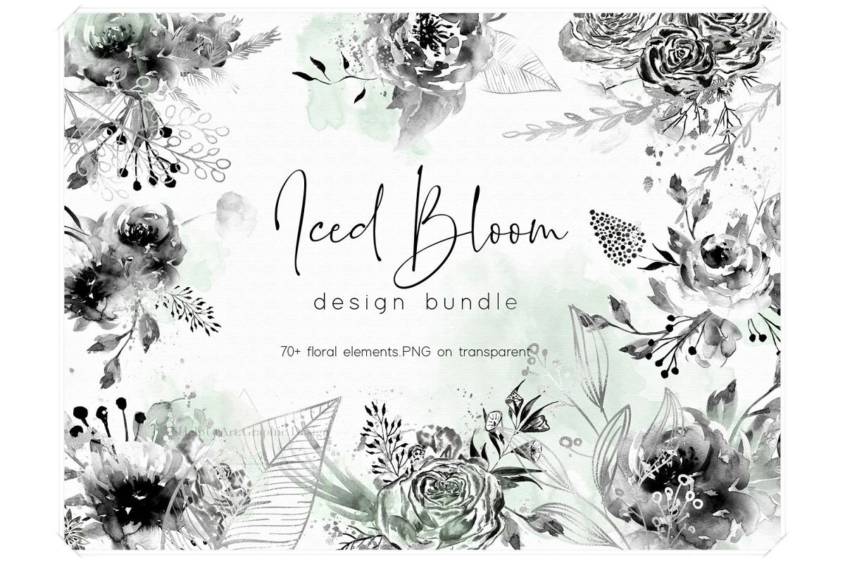 Iced Bloom - Watercolor Floral Design Bundle example image 1