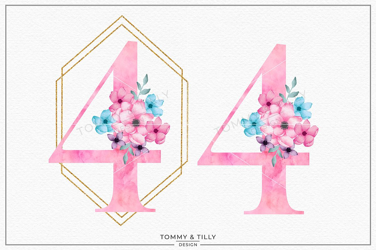 Four Pink Bouquet Birthday Number - Sublimation PNG Clipart example image 1