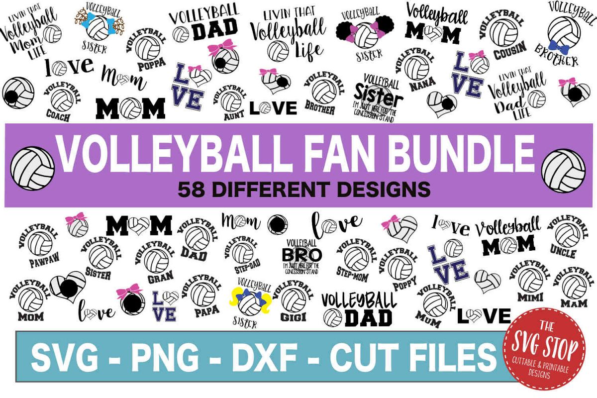 Volleyball SVG Bundle -SVG, PNG, DXF example image 1
