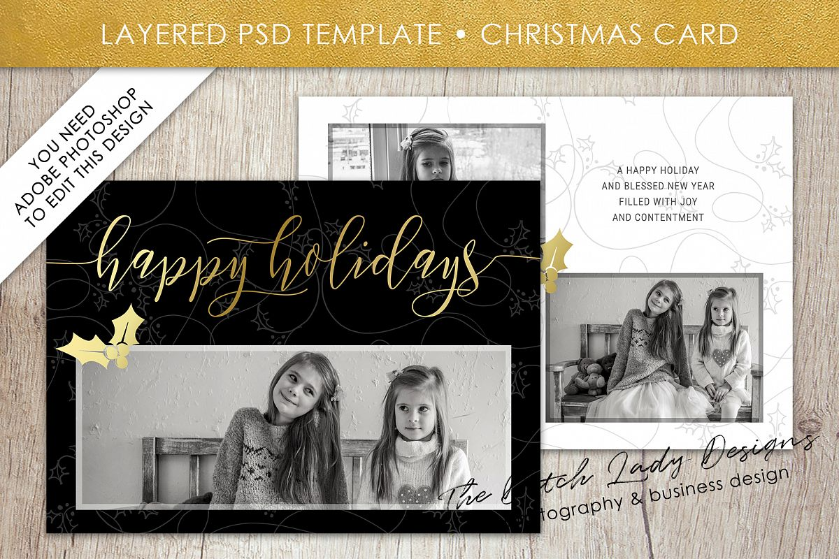 Psd Christmas Holiday Greetings Photo Card Template 9