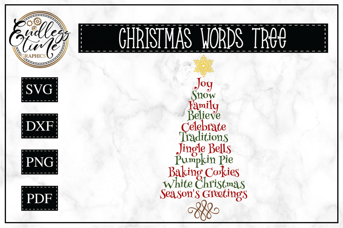 Christmas Tree Word Art SVG example image 1