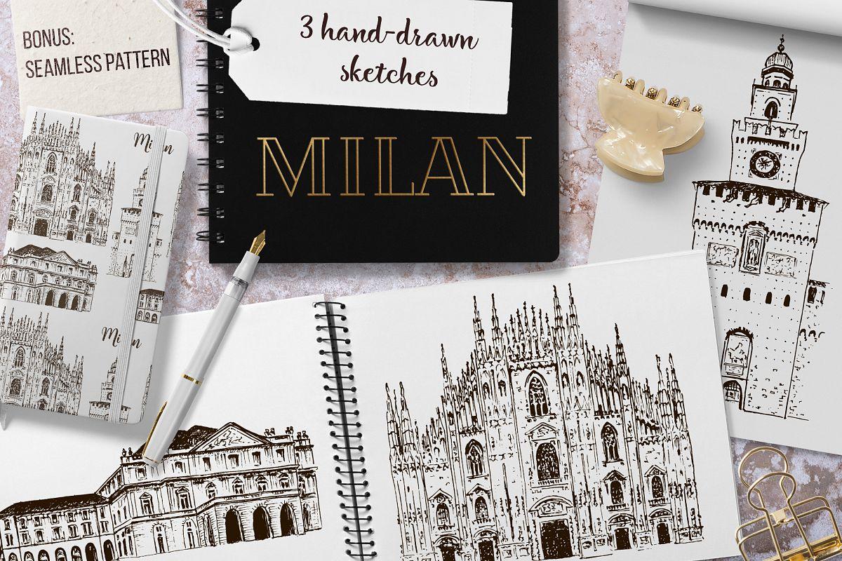 Set of Milan sketches example image 1