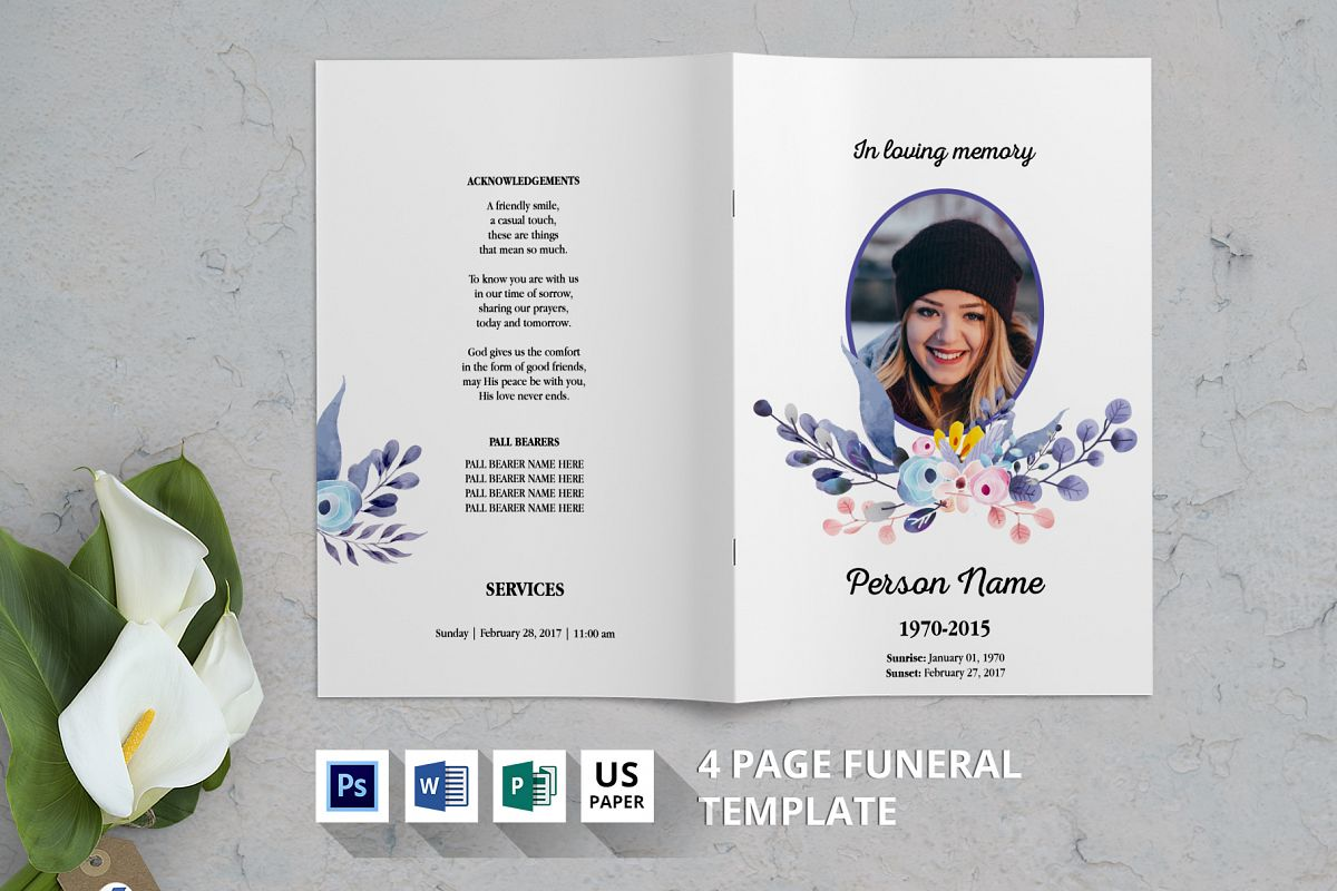 Watercolor Floral Funeral Template V10