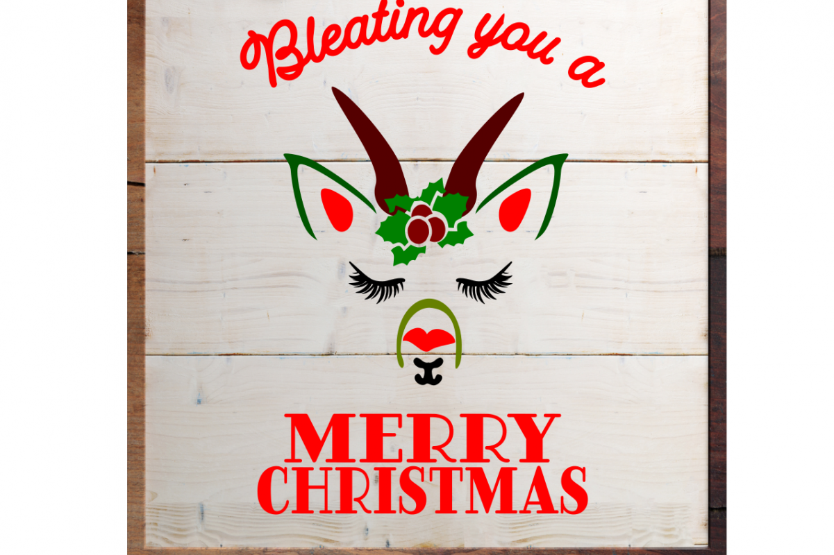 SVG Merry Christmas Goat Farmhouse Style Sign Decor Svg cut Stencil files for cricut or shilhouette, example image 1