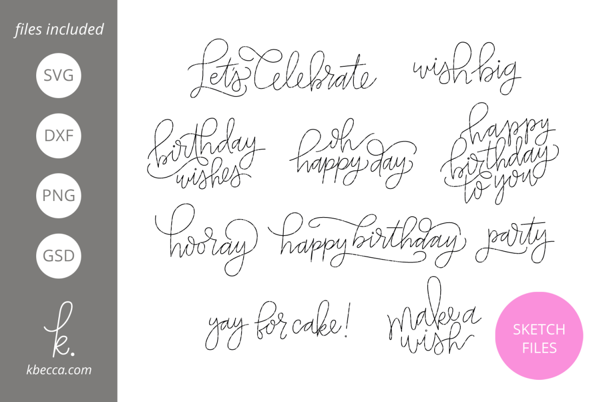 Foil Quill Sketch Birthday Sentiments SVG File