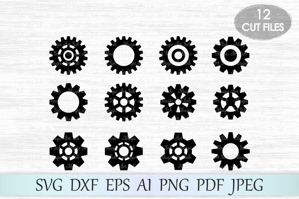Gears SVG, Gears Silhouette, Gears cut, Steampunk svg, Silhouette Cut Files, Gear clipart, Steampunk cut file, Gears vector , For Cutting Machines example image 1