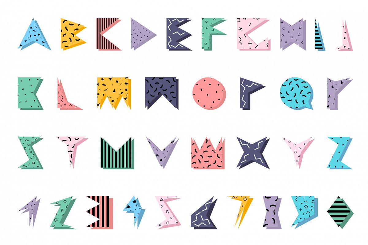 Color alphabet in memphis style. example image 1