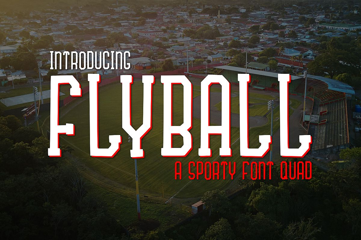 Fly Ball a Sporty Font Quad example image 1