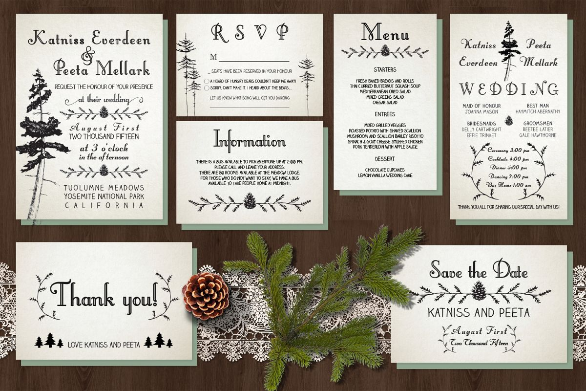 Pine Tree Wedding Invitation Suite by K | Design Bundles
